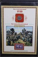 1930 BUFFALO NICKEL w  STAMP & INFORMATIVE
