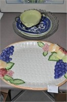 Pottery and Glass Platters and Trays