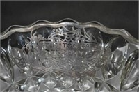 Silver Overlay Glass Bowl