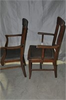 Two Oak Dining Room Armchairs