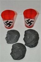 Busts of Hitler and Two Swastika Candle Glasses