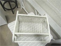 Wicker Side Table w/ Drawer & Wicker Wall Shelf.