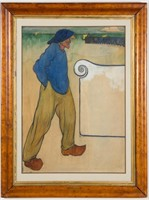 """Henri Jacques Evenepoel (Belgian, 1872-1899), late 19th-century watercolor on paper, 21 ¾"""" x 15 ¼"""" sight size"""