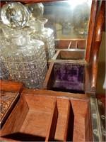 Antique Oak Campaign Travel Bar
