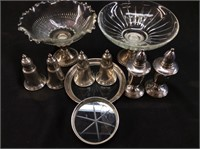 WEIGHTED SILVER SALT & PEPPER SHAKERS, TRAYS,