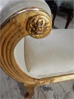 Antique Gilt Carved King's Side Bench
