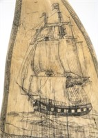 19th C. Scrimshaw Whale's Tooth With Figure