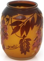 Signed Galle Cameo Glass Vase