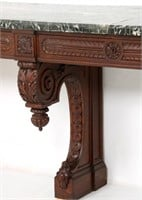 Massive Twelve Foot Carved Oak Console Table