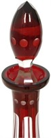 Pair of Cut Cranberry Decanters