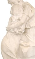 Carved Alabaster Sculpture of a Man and Woman