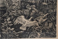 Albert Decaris Engraving Lida and the Swan