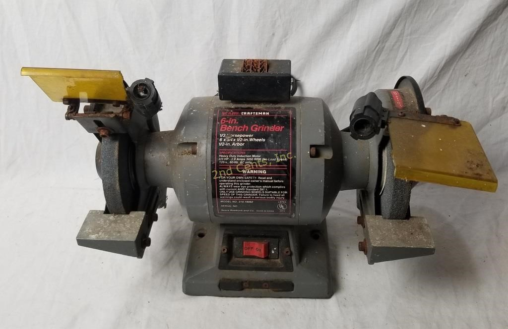 Outstanding Sears Craftsman 6 Bench Grinder 1 3 Horsepower 2Nd Cents Inc Ibusinesslaw Wood Chair Design Ideas Ibusinesslaworg