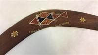 2 Wooden Tribal Hand Painted Boomerangs