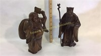 2 Hand Carved Wooden Statues Confucius & Buddah