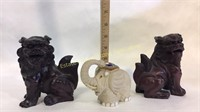 2 Cast Chinese Lions and 1 Lucky Elephant