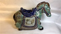 LARGE Teal and Blue Ceramic Horse Plant Pot
