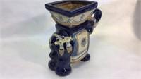 Blue White & Gold Lucky Elephant Plant Pot