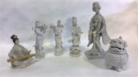 7 Pc Asian Porcelain Figures + Lion Box