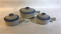 3 M.A. Hadley Handled Lidded Soup Bowls