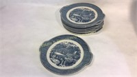 9 Currier & Ives Royal Ironstone Cake Plates
