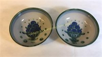 """Two M.A. Hadley Pottery Serving Bowls 8.5""""D"""