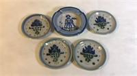 5 Piece M.A. Hadley Pottery Small Plates&  Ashtray
