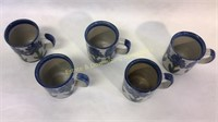 5 Louisville Stoneware Pottery Mugs