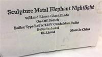 Sculpture Metal Glass Elephant Nightlight NIB