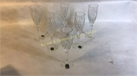 6 Lenox Sterling Crystal Champagne Flutes