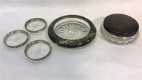 5 Piece Sterling & Glass Dish Lot