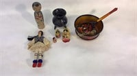 6Pc Lot Russian Dolls & Lacquerware & Other