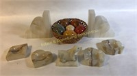 13 Pc Alabaster Marble Onyx Decorative Items