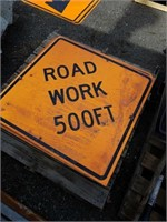 (3) road work signs