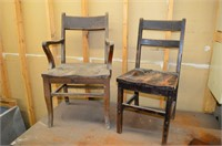 Vintage Library Table and (2) Wooden Chairs