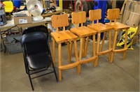 (4) Pine Bar Stools and (2) Folding Chairs