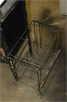 Interesting Metal Table with Enameled Tray,