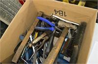 Box of Assorted Tools - Prybars, Screwdrivers,