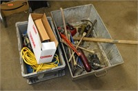 (2) Tubs of Tools, Straps, Electrical Cord, etc.