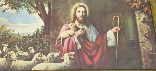 Vintage Jesus the Shepherd with Sheep Print | Trinity
