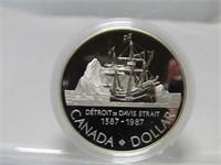 1987 CANADIAN CASED SILVER DOLLAR