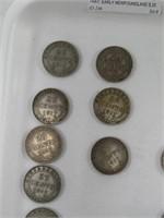 TRAY: EARLY NEWFOUNDLAND $.25 & 1899 $.50 PC.