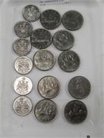 TRAY: CANADA $.50 & $1 COINS