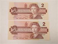TRAY: 2 CANADA 1986 $2 NOTES