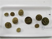 TRAY: ASST. US MILITARY BUTTONS