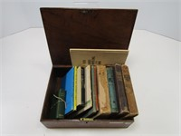 ANTIQUE WOODEN BOX W/NOVELS