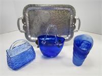 TRAY: ASST. DECORATIVE BLUE GLASS