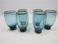 TRAY: 7 PC. RETRO BLUE GLASS JUICE SET