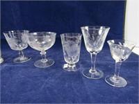 2 TRAYS: ASST. CORNFLOWER CRYSTAL GLASSES