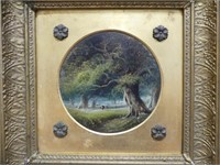 ANTIQUE FOREST O/B PAINTING IN GILT FRAME